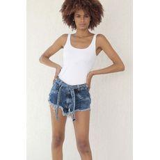 Short Jeans Destroyed Com Cinto Removível