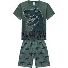 Pijama De Algodão Dinossauro Proteção Contra Insetos Manga Curta E Bermuda Verde Kyly