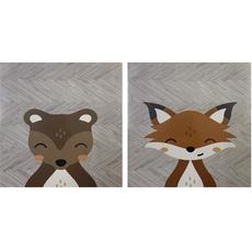 Conjunto 2 Quadros Decorativos Animais 23x19cm