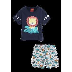 Conjunto 2 Peças De Algodão Leão Forest Floresta Camiseta Azul Marinho E Bermuda Cinza Kyly