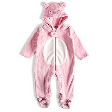 Macacão Fleece Com Pé E Zíper Urso Rosa Bebê Tip Top