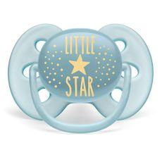 Chupeta Ultra Soft 6-18m Tamanho 2 Little Star Azul Philips Avent