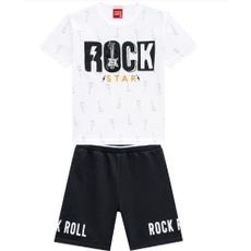 Conjunto 2 Peças De Algodão Guitarra Rock Star Camiseta Branca E Bermuda Preta Kyly