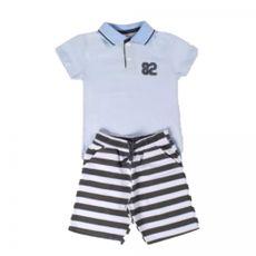 Conjunto 2 Peças De Algodão 82 Camisa Polo Azul Bebê E Bermuda Listrada Branco E Preto By Gus