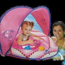 Boia Inflável Com Cobertura Para Bebê 6 Meses A 2 Anos Baby Boat Rosa The Original SwimSchool