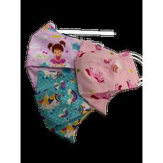 Kit 3 Máscaras Infantis (Estampas Sortidas - Menina)