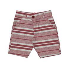 Bermuda Sarja Jeans Listrada Vermelho E Cinza By Gus