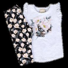 Conjunto 2 Peças De Algodão Floral Cinza E Preto Milon