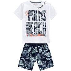 Conjunto 2 Peças De Algodão Floral Palms Beach Camiseta Branca E Bermuda Azul Marinho Milon