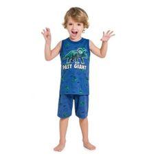 Pijama De Algodão Dinossauro Regata E Bermuda Azul Kyly