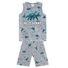 Pijama De Algodão Dinossauro Regata E Bermuda Cinza Kyly