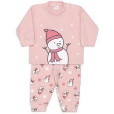 Pijama De Microsoft Bonecos De Neve Rosa Dedeka