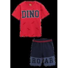 Conjunto 2 Peças De Algodão Dinossauro Roar Camiseta Vermelha E Bermuda Azul Marinho Kyly