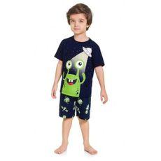 Pijama De Algodão Alienígena Proteção Contra Mosquito Azul Escuro Kyly