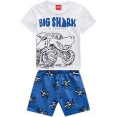 Conjunto 2 Peças De Algodão Tubarão Big Shark Camiseta Cinza E Bermuda Azul Kyly