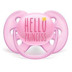 Chupeta Ultra Soft 6-18m Tamanho 2 Hello Princess Rosa Philips Avent