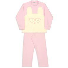 Pijama De Microsoft Coelho De Óculos Rosa Bebê Dedeka