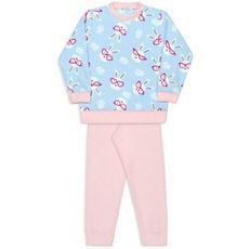 Pijama De Microsoft Infantil Coelhos De Óculos Azul Bebê Dedeka