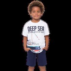 Conjunto 2 Peças De Algodão Navio Deep Sea Branco E Azul Marinho Milon
