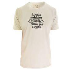 Camiseta unisex: Primeiro seu coração. Cor Off-white.