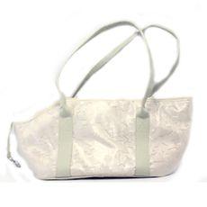 """Bolsa de Transporte retangular em cetim """"oncinha"""" com tela de proteção respirável na parte superior, garantindo ventilação adequada"""