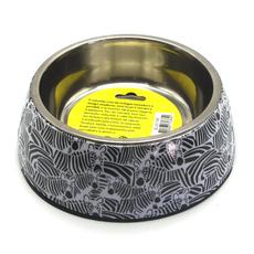 Comedor em inox com base em melamina anti-derrapante, em tamanho M, com estampa zebra