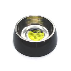 Comedor em inox com base em melamina anti-derrapante, em tamanho M, na cor preta