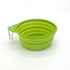 Bowl retrátil portátil em silicone, atóxico e durável, com mosquetão
