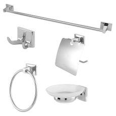 Kit Acessórios para Banheiro Square Europa Metal Cromado