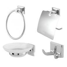 Acessórios Para Banheiro Square Europa Metal Cromado 4 Pçs