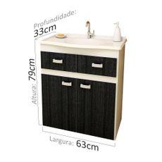 Gabinete para Banheiro Carrara sem Espelheira