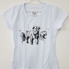 Camiseta Feminina - 3 Dogs - Branca
