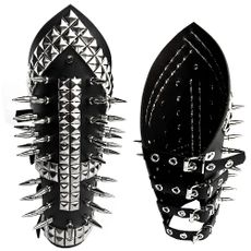 Bracelete Cruz Invertida com Pirâmides e Spikes (BR030)