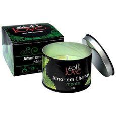 """Vela beijável hot linha """"Amor em Chamas"""", 50g menta"""