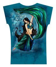 Camiseta . Aquarela Verde e Azul