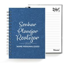Caderno . Shimmie Glitter 2021 . Azul . Pequeno