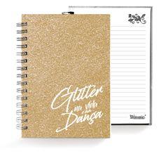 Caixa Glitter . Caderno . Dourado