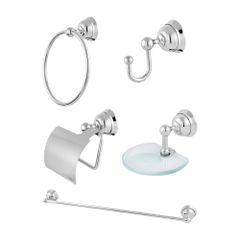 Kit Acessórios para Banheiro Elegance Metal Cromado