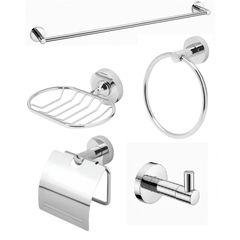 Kit Acessórios para Banheiro Tunis Redondo Metal Cromado