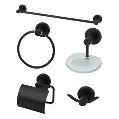 Kit Acessórios para Banheiro Metal Elegance Preto Fosco