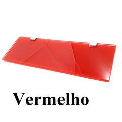 Prateleira Reta 30x10cm com vidro Temperado Vermelho de 8mm