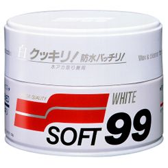 Soft99 White Wax Cleaner - Cera Carnaúba para Carros Brancos - 350g