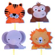 Enfeite Animais do Zoo (12uni) - Papel Confeito