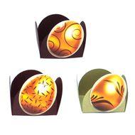 Forminha 4 Pétalas Ovo Dourado e Marrom (24uni) - Papel Confeito