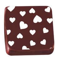 Transfer para Chocolate (40 x 30cm) - Coração Branco