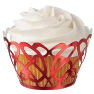 Red Foil Swirls Cupcake Wraps - Wilton