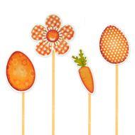Enfeite Cenoura, Ovo e Flor (12uni) - Papel Confeito