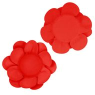 Forminha Flor Dupla Lisa (40uni) - Vermelha