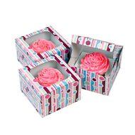 Caixa Bubble Stripes Wilton - 1 Cupcake (3 uni)