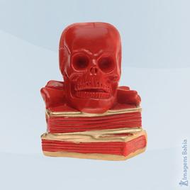 Imagem de Crânio sobre livros (Vermelho)